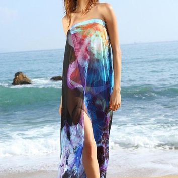 LMF78W Blue Floral Print Chiffon Beach Cover-up