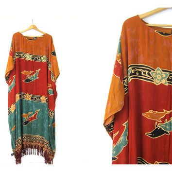 Vintage caftan dress Loose fit maxi Batik Turquoise Orange Dolphin Fish Print Dress Vacation Resort wear Lounge beach Tent Dress Size