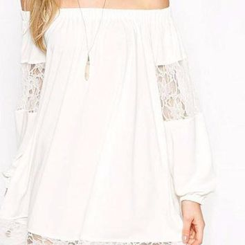Women's White Lace Chiffon Off the Shoulder Shift Dress