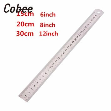 Cobee 15/20/30cm 6/8/12 inch Metric  Ruler Metal Straight Ruler Precision Double Sided