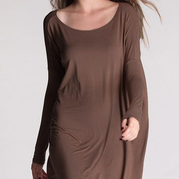"PIKO ""Everything"" Long Sleeve Tunic - Dark Brown"
