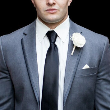 Mens Boutonniere Custom Made Wedding Floral with Sola Flowers Ivory Rose