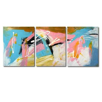"""'Blue and pink cascade'  - 48"""" X 20"""" Original Abstract  Art. Free-shipping within USA & 30 day return Policy."""