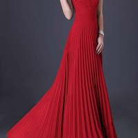 Red One Shoulder Pleated Elegant Prom Evening Party Maxi Dress
