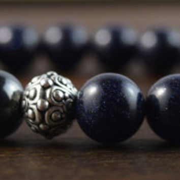 10mm Men's Bead Bracelet. Men's Christmas Gift. Blue Goldstone Bracelet. Men's Fashion Bracelet. Hematite Bracelet. Lotus and Lava Bracelet.