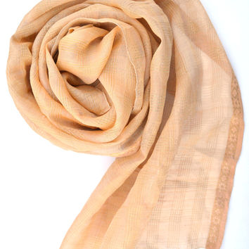 ivory and gold silk shawl