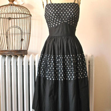 Ellen Kaye | Vintage 1950's Black Cotton Swing Dress Fit and Flare Dress with Gingham and Lattice Detail - Tucked Underbust- Fabulous