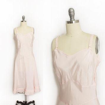 Vintage 1940s Slip - Pink Acetate Sweetheart Under Dress 40s - Small S
