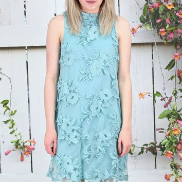 Lace Embroidery on Mesh Tank Dress {Dusty Sage}