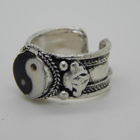 Ying Yang Stone Silver Adjustable Amulet Tibetan Ring