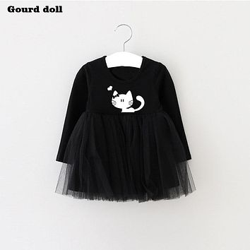 2017 Spring Summer Cat Baby Girl Dress Lon Infant Party Dress For Toddler Girl Brithday Baptism Clothes 1 year birthday dress
