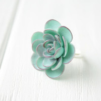 Big Blue Succulent Planter Ring Statement succulent ring Succulent Jewelry Birthday Mother's day gifts mom gifts for mums