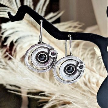 Artisan Crafted Sterling Silver Garnet Round Floral Drop Earrings