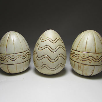 Carved Stoneware Ceramic Eggs, Geometric, Easter, Home Decor