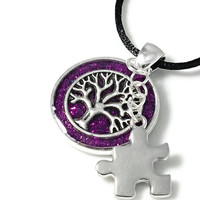 Autism necklace, autism awareness jewelry, tree of life necklace, autism charm necklace, purple resin jewelry, puzzle piece necklace.