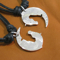 Yin Yang Horse Heads, Interlocking Quarter Necklace, cut coin Love coin