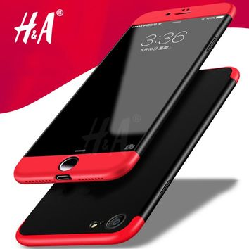 H&A 360 Degree Protection Case For iphone 6 6s Plus Case Luxury Plastic Hard Shockproof Back Cover For iphone 7 plus Phone Shell