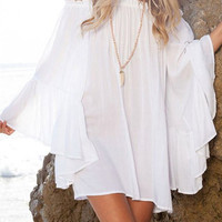 White Off The Shoulder Long Sleeve Ruffled Dress
