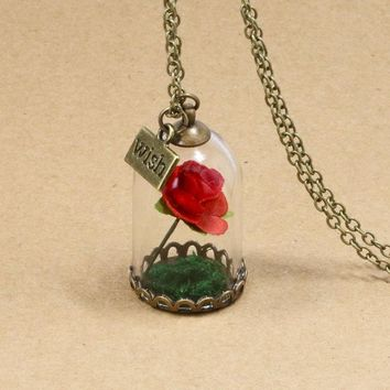 Rose Pendant Necklace 1PC  Beauty and the Beast  Flower in Glasses
