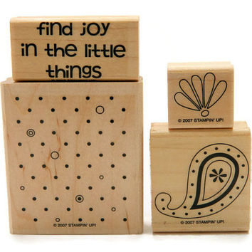 Stampin' Up Rubber Stamps, Wood Mounted Stamps, Polka Dots and Paisley, Retired Stamp Set