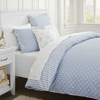 The Emily + Meritt Chambray Dottie Duvet Cover + Sham