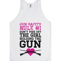 Gun Safety Rule #1-Unisex White Tank
