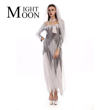MOONIGHT Gray Zombie Cosplay Halloween Costume Dress Role-Playing Ghost Bride Masquerade Clothing Sexy Lace Dresses