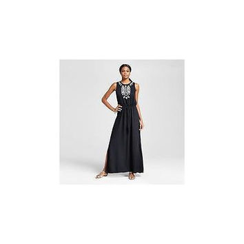 Mossimo Women's Embellished Neckline Maxi Dress, X-Small, Black/White