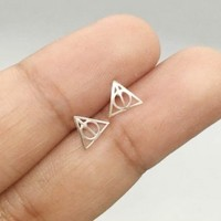 Harry potter inspired stud earrings, Deathly hallows inspired jewelry