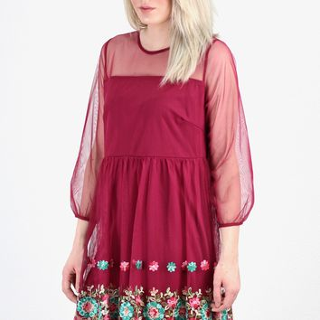 Gotta Good Feelin' Embroidered Mesh Dress {Burgundy}