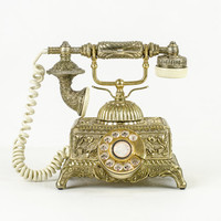 Vintage Ornate Gold French Rotary Telephone