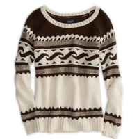 AEO Women's Fair Isle Sweater (Cream)