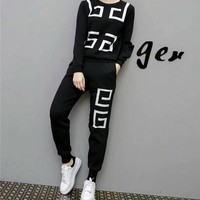 """Givenchy"" Women Casual Logo Pattern Knit Long Sleeve Trousers Set Two-Piece Sportswear"