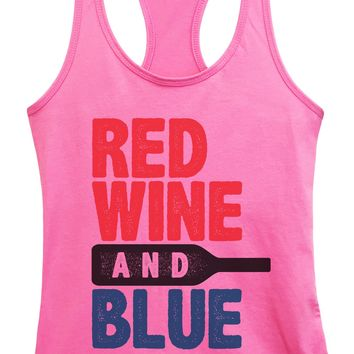 Womens Red Wine And Blue Grapahic Design Fitted Tank Top