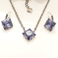SWAROVSKI PRINCESS NECKLACE set, tanzanite, 12mm, earrings, easter gift, designer inspired, pretty chain,spring