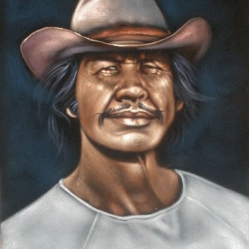 Charles Bronson badass cowboy legend black velvet oil painting handpainted signed art
