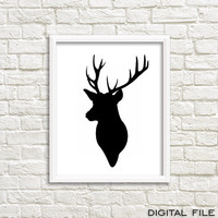Wall art print Printable poster Wall decor gift deer antler deer decor black deer wall art deer print deer picture woodland animal creatures