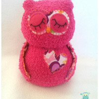 Plush Owl, Pink Sock Owl, Stuffed Animal, Sock Animal, Baby Shower, Nursery Gift