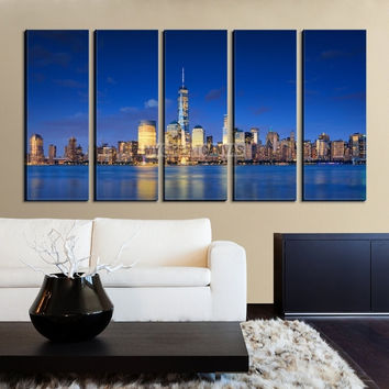 Large Wall Art NEW YORK Canvas Prints - New York Skyline from Manhattan Side at Dusk
