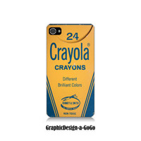 Iphone 4 case, Iphone 4s , Vintage Crayola Crayon Box, custom cell phone case, original design