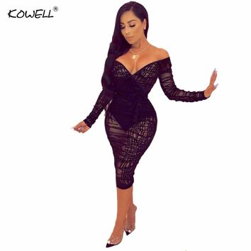 2019 New Ruffle Sheer Lace Bodycon Dress Plus Size S-4XL Women Sexy V Neck Off Shoulder Long Sleeve Sheath Midi Club Party Dress