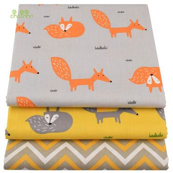 Chainho,Yellow Fox ,Cartoon Printed Twill Cotton Fabric,DIY Quilting Sewing For Baby&Children Sheet,Pillow,Cushion,Toys Material