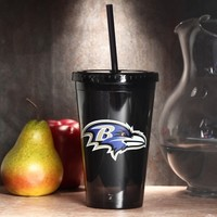 Baltimore Ravens Sip 'N Go 16oz. Color Tumbler with Lid and Straw - Black