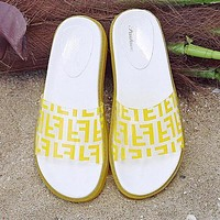 FENDI Summer Newest Popular Women Casual Thick Sole Transparent Jelly Flat Sandal Slippers Shoes Yellow