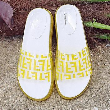 b2cb2b1d7 FENDI Summer Newest Popular Women Casual Thick Sole Transparent Jelly Flat  Sandal Slippers Shoes Yellow