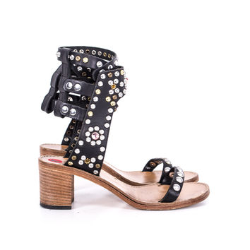 Black Leather Studded Sandals size:7
