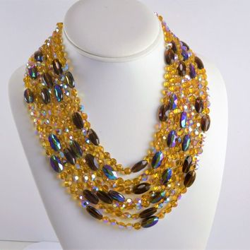 7 Strand Necklace - Multi Color Purple Yellow Faceted Aurora Borealis Glass Bead  -50s 60s Mid Century  - Loaded