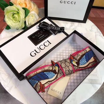 GUCCI Bird Embroidery Silk Headband