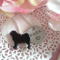 Pugs Love Hand Stamped Keychain by Wonderfullmoments6 on Etsy