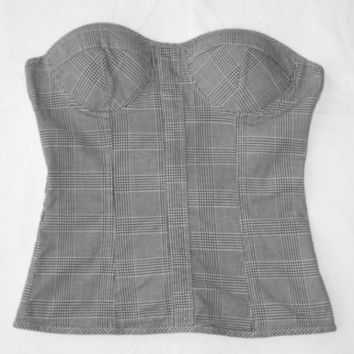Black and White Plaid Bustier Top Corset SMALL Punk Goth Grunge Charlotte Russe